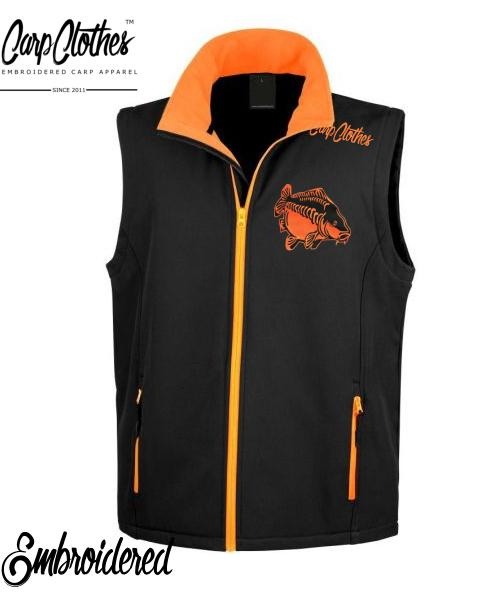 009 EMBROIDERED SOFTSHELL BODYWARMER BLACK ORANGE