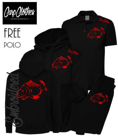 001 EMBROIDERED CARP PACKAGE BLACK - **FREE POLO SHIRT**
