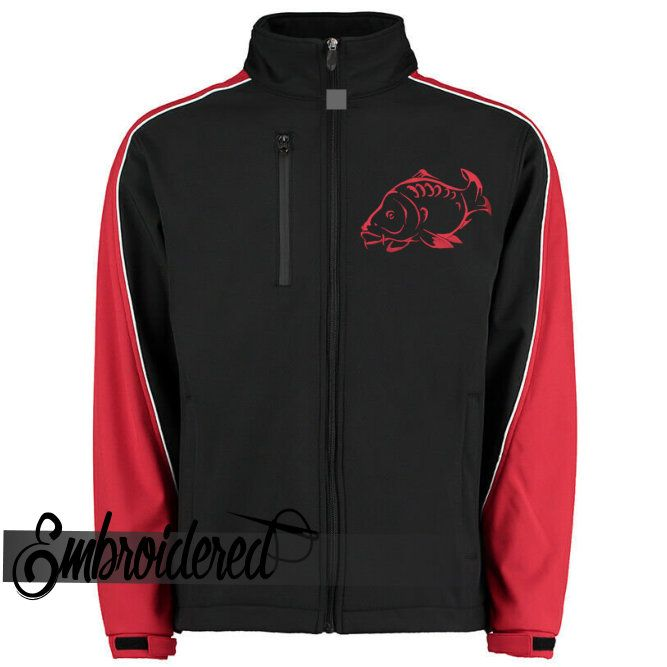 001CLRN EMBROIDERED 2 TONE SOFT SHELL JACKET BLACK/RED