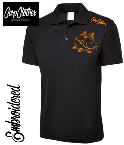 003 EMBROIDERED CARP FISHING POLO SHIRT  BLACK - PLUS SIZE