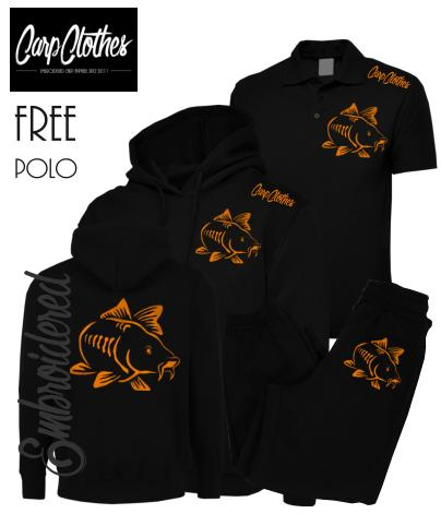 003 EMBROIDERED CARP PACKAGE BLACK  **FREE POLO SHIRT**