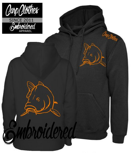 004 EMBROIDERED CARP FISHING HOODIE BLACK - PLUS SIZE