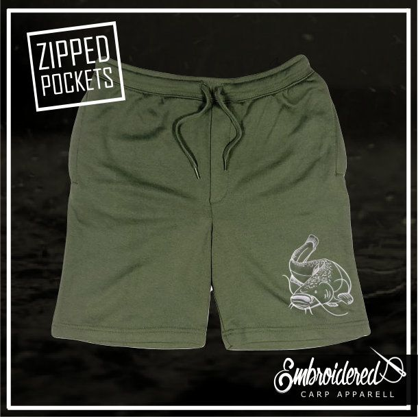 005 EMBROIDERED OLIVE SHORTS