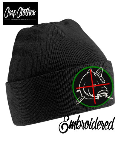 006 EMBROIDERED CARP CLOTHES BEANIE - BLACK