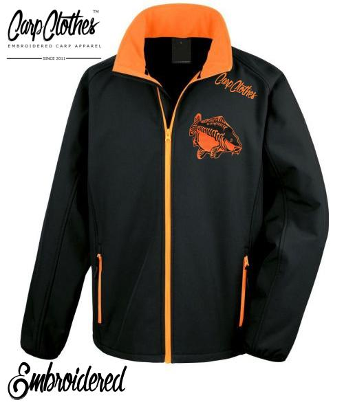 009 EMBROIDERED SOFTSHELL JACKET BLACK/ORANGE**£15 OFF** NORMALLY £39.95