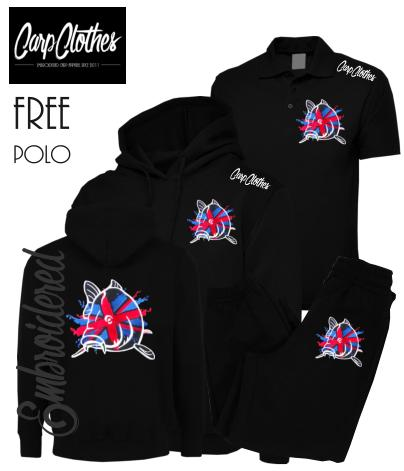 011 EMBROIDERED CARP PACKAGE BLACK  **FREE POLO SHIRT**