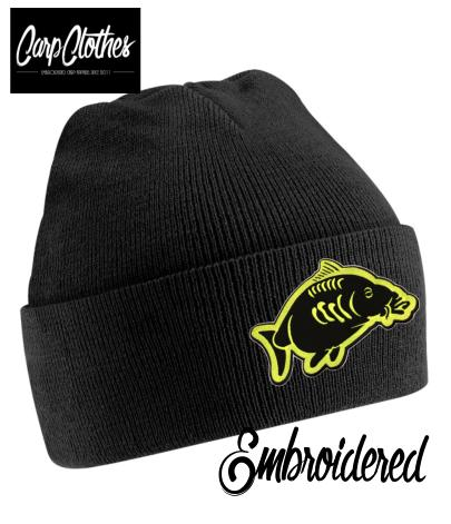 013 EMBROIDERED CARP CLOTHES BEANIE - BLACK