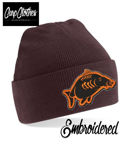 013 EMBROIDERED CARP CLOTHES BEANIE - BROWN