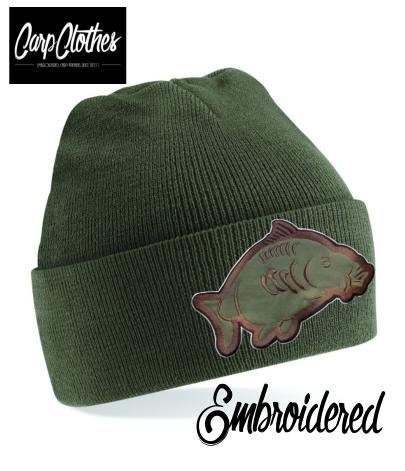 013 EMBROIDERED CARP CLOTHES BEANIE - OLIVE
