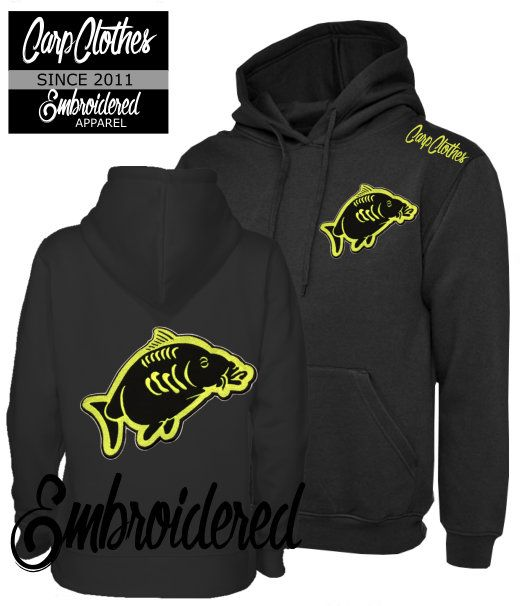 013 EMBROIDERED CARP FISHING HOODIE BLACK - PLUS SIZE