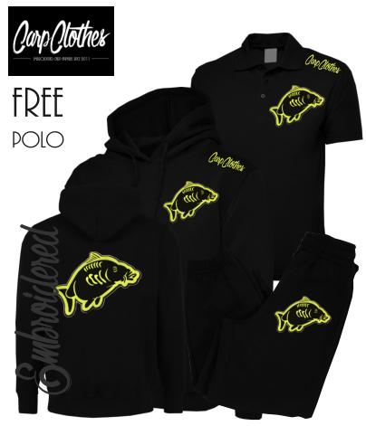 013 EMBROIDERED CARP PACKAGE BLACK  **FREE POLO SHIRT**