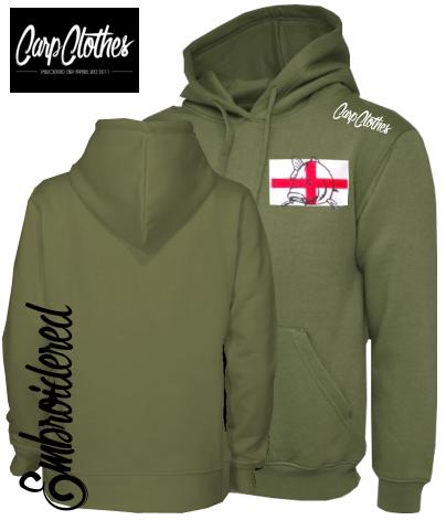 017 EMBROIDERED CARP FISHING HOODIE OLIVE