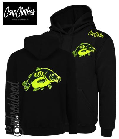 023 EMBROIDERED CARP FISHING HOODIE BLACK - PLUS SIZE