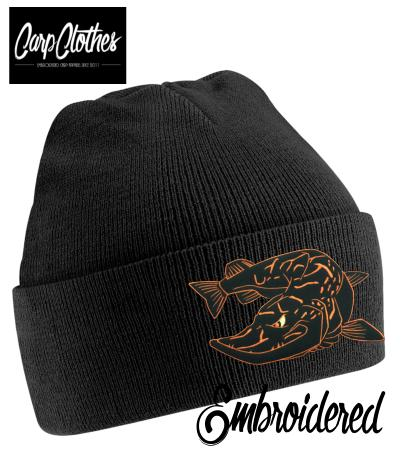 025 EMBROIDERED PIKE CLOTHES BEANIE - BLACK