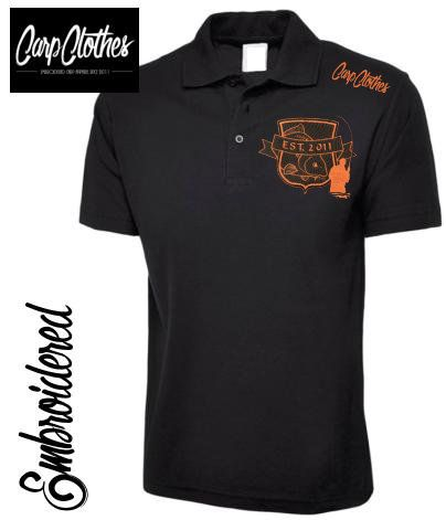 029 EMBROIDERED CARP FISHING POLO SHIRT  BLACK - PLUS SIZE