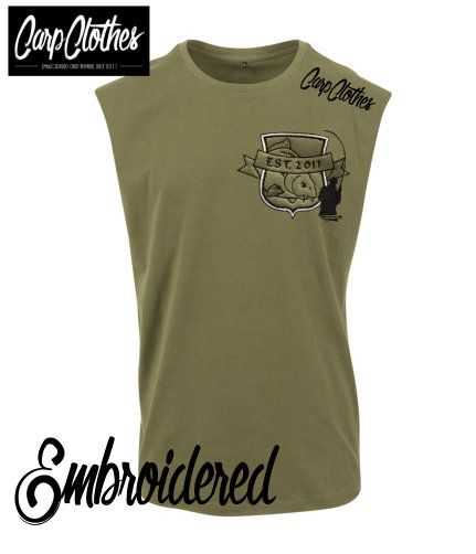 029 EMBROIDERED SLEEVELESS T-SHIRT OLIVE