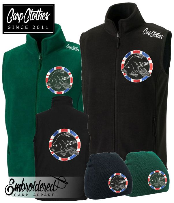 030 CARP CLOTHES EMBROIDERED FLEECE BODYWARMER **FREE MATCHING NON ROLL BEANIE**