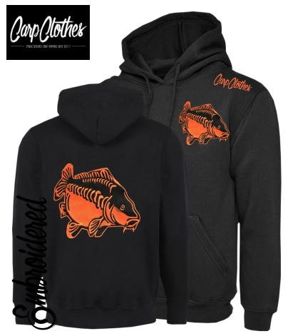 CHILD 009 EMBROIDERED CARP FISHING HOODIE BLACK/ORANGE