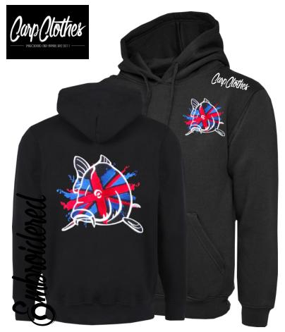 CHILD 011 EMBROIDERED CARP FISHING HOODIE BLACK