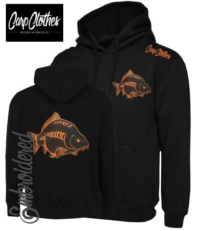 CHILD 026 EMBROIDERED CARP FISHING HOODIE BLACK/ORANGE