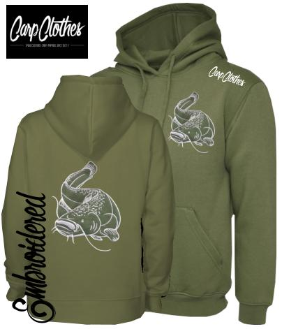 CLR005 EMBROIDERED CAT HOODIE OLIVE