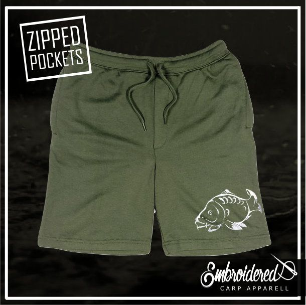 CLR009 EMBROIDERED SHORTS MILITARY GREEN
