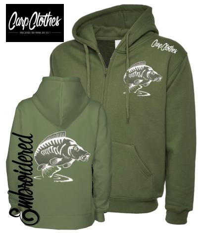CLR014 EMBROIDERED ZIPPED HOODIE OLIVE
