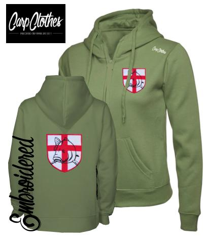 CLR021 LADIES EMBROIDERED ZIPPED HOODIE OLIVE